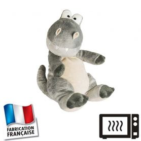 Peluche bouillotte Dino gris